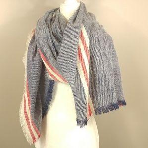 Oversized warm scarf with stripes